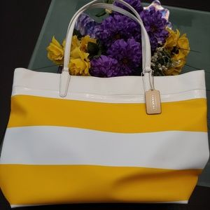Coach tote yellow white striped shoulder bag. NEW